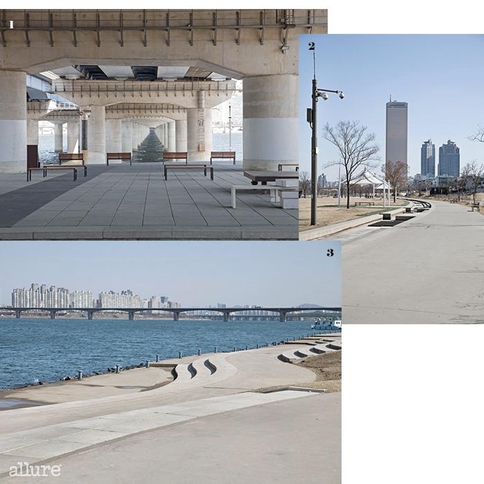 1 서늘한 마포대교 아래 2 여의도의 상징, 63빌딩 3 탁 트인 광장. 여름엔 온갖 공연이 열린다