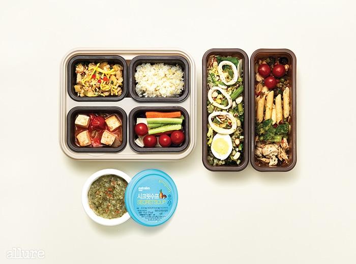 (왼쪽 위부터 시계 방향) 나트륨과 열량을 낮춘 한식 퀴진과 영양소의 균형을 고려한 샐러드인 알라까르떼, 다이어트 수프인 시크릿수프.