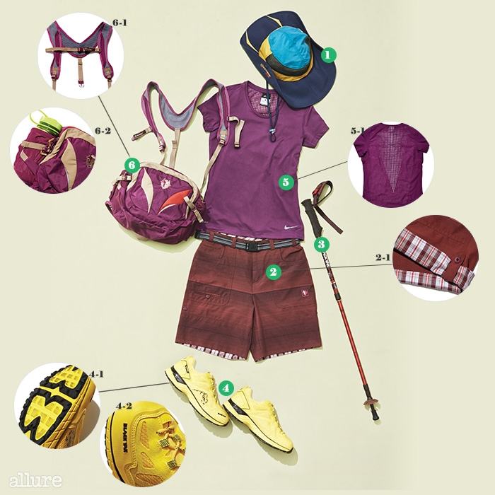 쿨맥스 소재를 사용해 쾌적한 착용감을 선사하는 모자는 6만1천원. 쇼츠는 8만원대. 지팡이는 7만2천원. 트레일 워킹화는 21만9천원. 나일론 소재 백팩은 12만8천원. 모두 블랙야크(Blackyak). 티셔츠는 3만원대, 나이키.