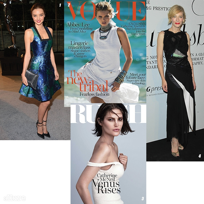 1 미니드레스를 즐기는 미란다 커. 2 2014년 4월호 호주판 . 3 호주에서 발행하는 패션 잡지 . 4 호주를 대표하는 배우, 케이트 블란쳇. 공식 석상에서는 여유로운 실루엣의 드레스를 즐겨 입는다.