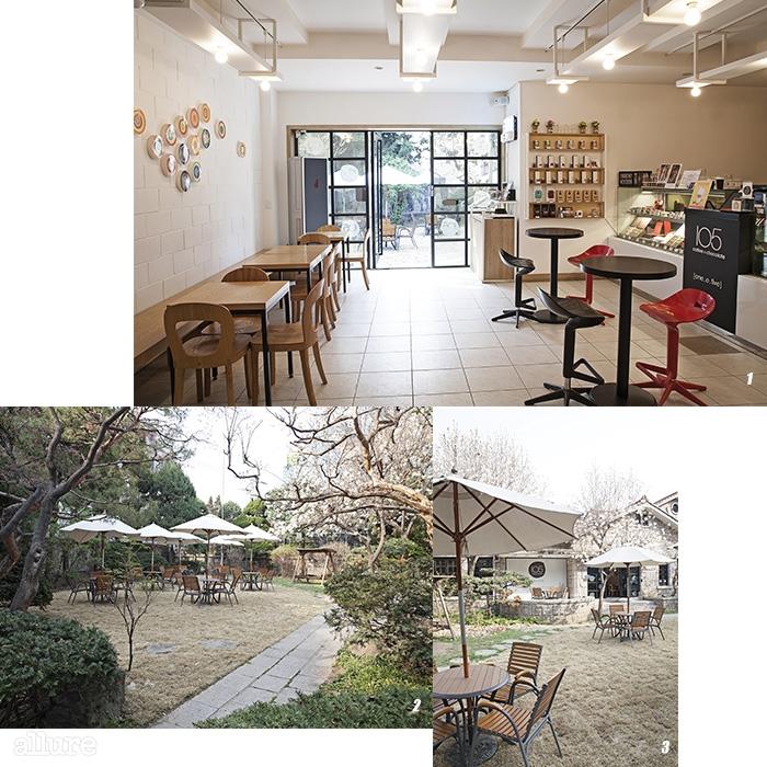 1, 3 날씨가 좋은 날이면 손님이 가득 차는 정원 풍경.  2 쇼룸이자 카페인 내부 공간.