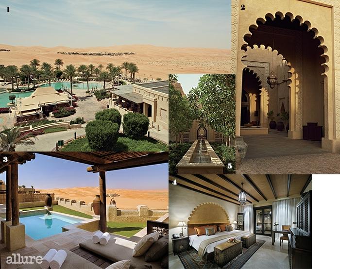 1 사막을 바라보면서 수영을 하는 색다른 경험을 안겨주는 카스르 알 사랍 리조트. 2 아랍의 전통 건축 양식으로 지은 로비 입구. 3 개인 풀이 있는 투 베드룸 빌라. 4 유목민의 전통을 상징하는 가구와 소품으로 장식한 방의 내부. 5 리조트 안을 산책하다 보면 곳곳에서 만날 수 있는 작은 분수.
