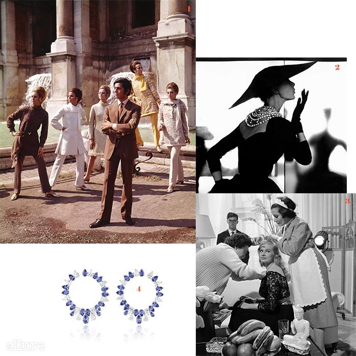 1 1967년, 자신이 디자인한 의상을 입은 모델들과 포즈를 취한 디자이너 발렌티노 2 1950년대 여배우의 모습을 담은 릴리안 바스만의  3 시네시타 스튜디오에서 영화 를 촬영 중인 여배우 아티나 에트버크. 4 1950~60년대 여배우들에게 영감 받은 쇼파드의 '레드 카펫 컬렉션'의 하이 주얼리 귀고리.