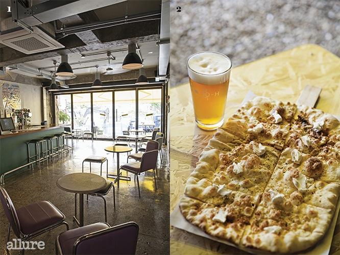 1 해가 잘 드는 널찍한 실내 2 예젝과 라지 사이즈 비앙카 피자