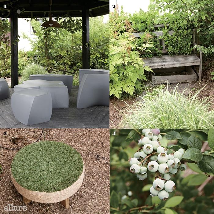 1 너른 정자 안에 의자를 마련해 두어 편안하게 쉬어갈 수 있다 2 정원 안쪽에 마련된 나무 벤치 3 폐타이어를 재활용해 만든 의자 4 파랗게 익어가고 있는 블루베리