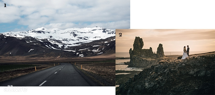 1 스나에펠스네스 반도로 들어가는 54번 고속도로. 작은 아이슬란드라고 불리는 풍경이다. 2 노을이 지는 화산암 절벽 스발트휘바(Svalthufa)에서 결혼 사진을 남겼다.