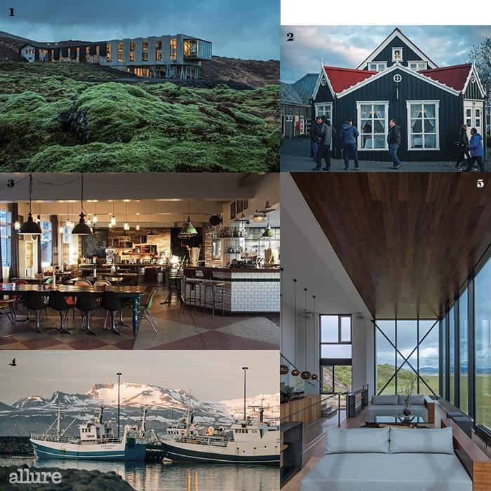 1 셀포스의 광활한 들판에 자리한 모던한 이온 어드벤처 럭셔리 호텔. 아이슬란드의 자연을 온전히 받아들일 수 있는 곳이다. 2 레이캬빅 시내의 거리 풍경. 3 레이캬빅 다운타운에 위치한 켁스 호스텔 안의 레스토랑. 아이슬란드의 힙스터들이 모이는 공간이다. 4 스나에펠스네스 남부 해안의 아르나스타피(Arnastapi) 항구. 대부분의 아이슬란드 사람들은 수산업에 종사한다. 5 통유리창으로 되어 있는 이온 호텔의 바. 밤이 깊어지면 아름다운 별을 바라볼수 있다.