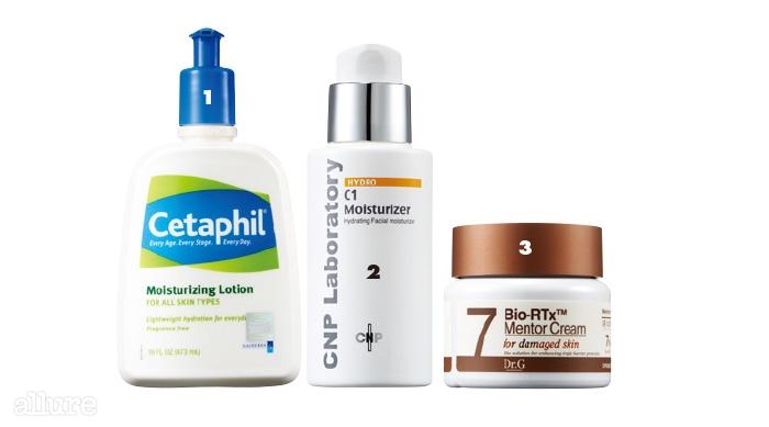 1 세타필의 모이스춰라이징 로션. 건조한 피부에 수분을 충분히 공급하여 피부보호막을 지킨다. 473ml 1만9천원대. 2 CNP 차앤박화장품의 C1 모이스춰라이저. 피부보호막을 건강하게 가꿔주는 세라마이드 보습제. 60ml 5만5천원. 3 닥터지의 바이오-알티엑스 멘토크림 7. 달아오르고 민감해진 피부를 진정하며 손상 피부의 보호막을 강화한다. 50ml 3만5천원.
