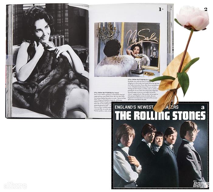 1 타센 출판사에서 발매한 엘리자베스 테일러 사진집 . 2 분홍색 작약. 3 록밴드 롤링 스톤즈.