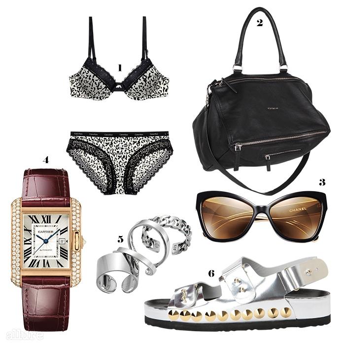 1 속옷은 7만8천원, 캘빈 클라인 언더웨어(Calvin Klein Underwear). 2 양가죽 소재 미니백은 1백만원대, 지방시(Givenchy). 3 선글라스는 가격미정, 샤넬(Chanel). 4 다이아몬드를 장식한 18K 핑크 골드 시계는 가격미정, 까르띠에(Cartier). 5 은 소재 반지는 각각 7만원대, 넘버링(#Numbering). 6 소가죽 소재 슬리퍼는 39만8천원, 슈콤마보니(Sucomma Bonnie).