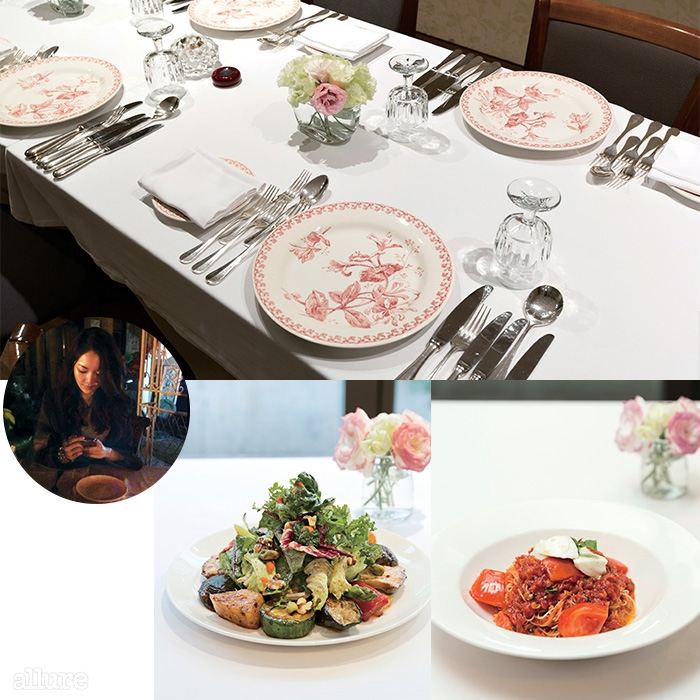 늘 한결같은 모습은 이탤리언 레스토랑 미피아체의 매력이다. 그릴 샐러드와 가는 카펠리니면으로 만든포모도로 파스타.