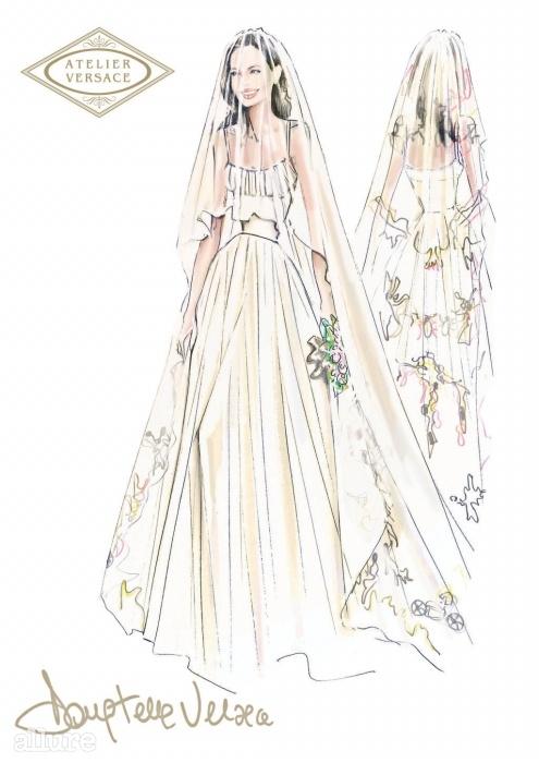 아틀리에 베르사체가공개한 안젤리나 졸리의웨딩드레스 스케치.