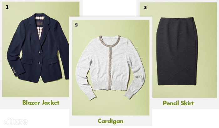 1폴리에스테르 소재 재킷은 52만5천원,닥스 레이디스(Daks Ladies). 2폴리아미드와 알파카 소재의 비즈 장식카디건은 6만9천원, H&M. 3폴리에스테르 소재 스커트는 가격미정,캘빈 클라인 플래티늄(Calvin Klein Platinum).