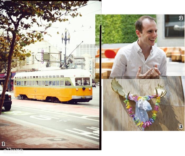 1 도시를 가로지르는 노면전차, 뮤니. 2 에어비앤비의 창립자인조 게비아. 3 사무실 곳곳에서 만나는 경쾌한 장식품.