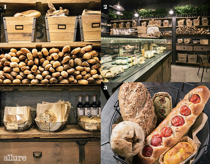 1 빵으로 가득 찬 브레드 앤 서플라이의 진열장.2빵, 샌드위치,수프, 샐러드와 도시락까지 판매한다. 3 시골빵,글루텐 프리, 토마토 로즈메리, 감자치아바타.