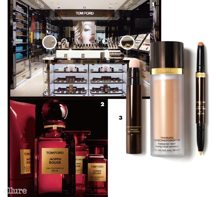 1 갤러리아 백화점 웨스트 1층에 오픈한 톰 포드 뷰티 매장 전경. 2 관능적인 향을 담은 재스민루즈 오드퍼퓸. 3 파운데이션, 컨실러 등 다양한 메이크업 제품군이 선보인다.