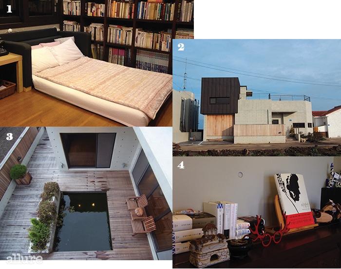 1 책으로 가득 채워진O룸, 작가의 방. 창밖으로정원이 보이며 4인까지숙박 가능하다. 2 유진오닐이 <밤으로의 긴여로>를 펴낸 작업실,타오하우스에서 이름을가져왔다. 3 1층 야외테라스의 풍경.4 게스트하우스 곳곳에놓인 책과 소품들.
