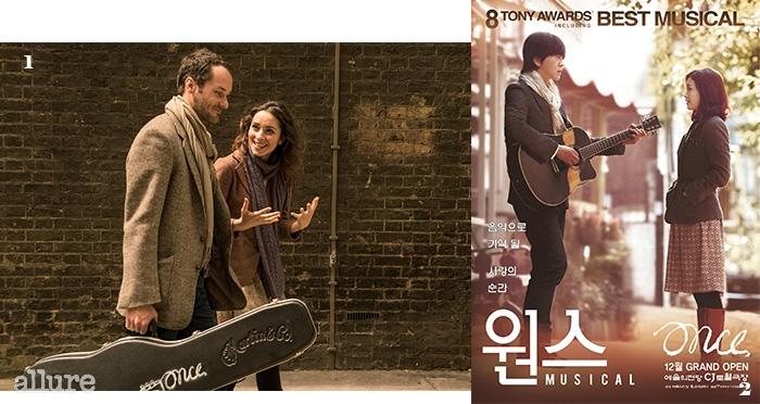 1영국판 <원스>의 출연 배우들. 2한국판 <원스>의 주연을 맡은윤도현과 전미도.