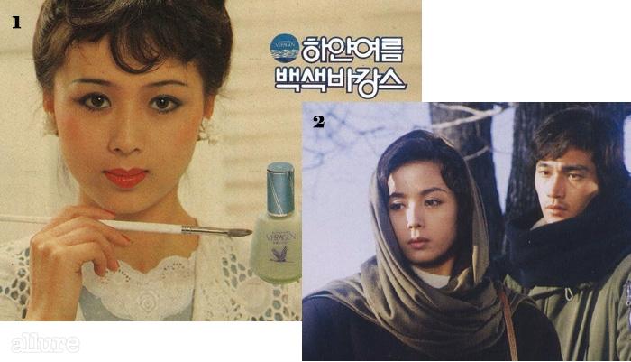 180년대 쥬단학 화장품 모델로 활동한 이혜숙. 2정보석과 함께 출연한영화 <젊은 날의 초상)>(1981).