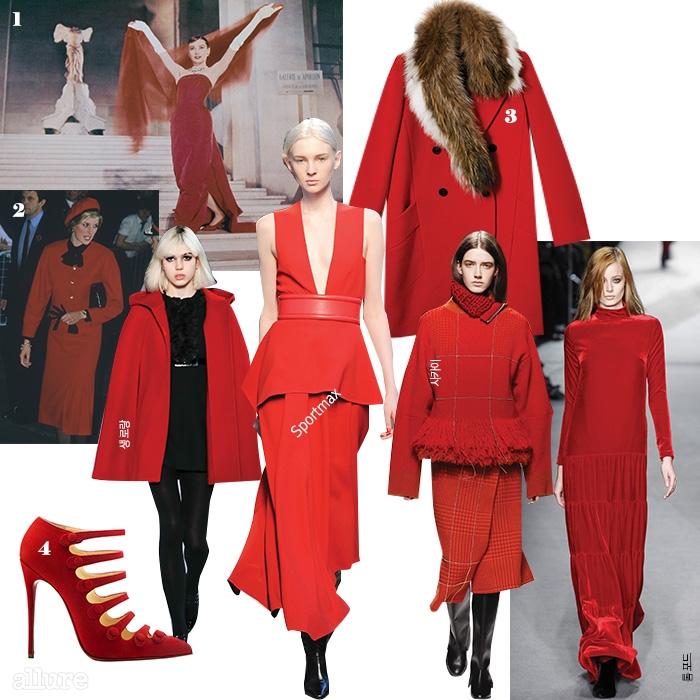 1 붉은색 드레스를 입고 루브르의계단을 걸어 내려오는 영화<퍼니페이스>의 오드리 헵번.2 1990년대 최고의 패션아이콘이었던 고 다이애나왕세자비. 공식석상에 빨간색옷을 자주 입고 등장하기로유명했다. 예로부터 빨간색은VIP를 상징하고 권력을나타냈는데, 조선시대 왕의도포가 빨간색이었던 것 또한같은 맥락에서다. 3 토끼털 장식의 폴리에스테르 소재 코트는가격미정, 잇 미샤(It Michaa).4 스웨이드 소재의 스트랩펌프스는 가격미정, 크리스찬루부탱(Christian Louboutin).