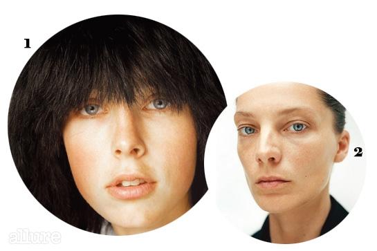 1마크 제이콥스의2015년 봄/여름 컬렉션백스테이지에서 포착된맨 얼굴의 에디 캠벨. 2세린느 2015년 리조트 컬렉션 광고에맨 얼굴로 등장한 다리아 워보이.