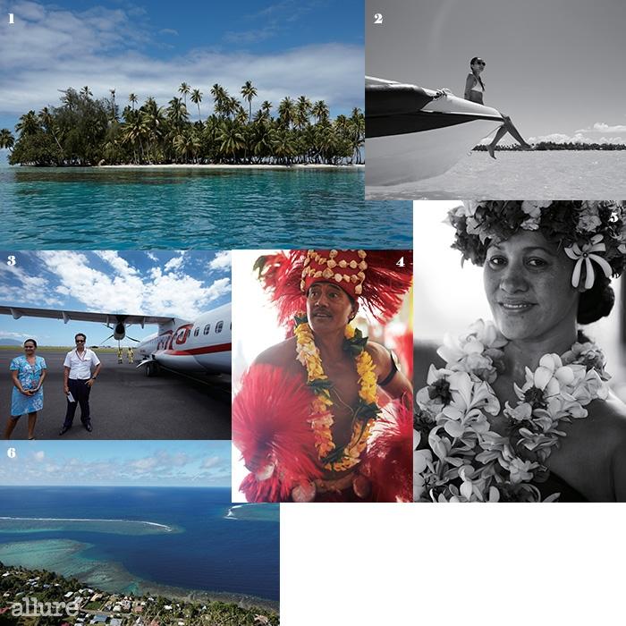 1 타히티에서 흔히 볼 수 있는 모래톱으로 생성된 작은 무인도. 2 요트에서시간을 보내는 손미나. 3 에어 타히티 누이의 작은 비행기와 승무원.4, 5 공항에 도착한 여행자를 위해 환영의 춤 타무레와 파오티를 추는터히션. 6 하늘에서 내려다본 모레아 섬.