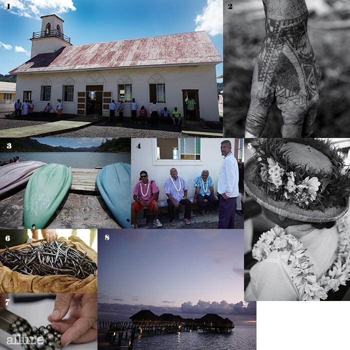 1, 4, 5일요일을 맞아 교회를 찾은 타히티 사람들. 꽃목걸이와 꽃으로장식한 모자 등으로 한껏 멋을 냈다. 2 타히티에서 문신은 전통과 정체성을표현하는 하나의 의식이다. 3 다양한 해양 스포츠를 즐길 수 있는 타히티의바다. 6 타히티의 특산물인 바닐라빈. 태양 아래 건조시키는 바닐라빈의향기를 어디서든 맡을 수 있다. 7 타히티의 바다와 조개가 함께 길러내는또 다른 특산물 흑진주. 8 르 타하아 아일랜드 리조트&스파의 워터 빌라위로 석양이 진다.