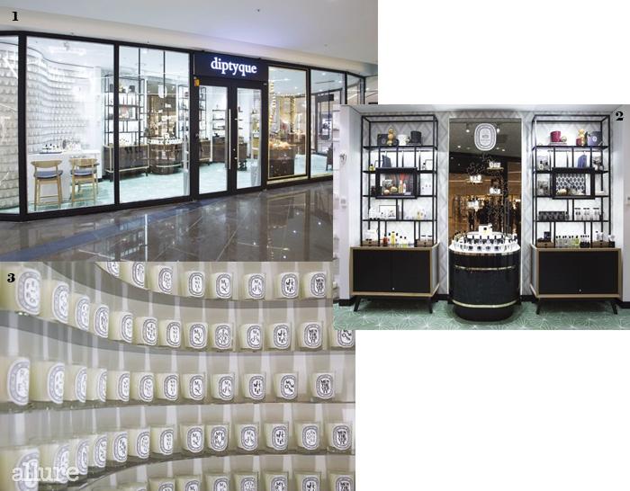 1 프렌치 스타일의공간 디자인으로완성된 딥티크 매장.2 향수 컬렉션과보디&스킨 케어 존.3 400여 개의향초가 전시된 벽면.