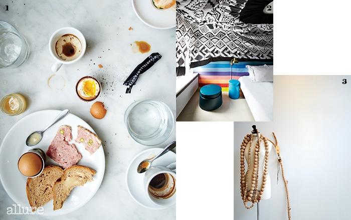 1 암스테르담 사람들의간단한 아침 식사.2 패턴이 돋보이는 호텔 더익스체인지의 인테리어.3 편집숍의 독특한디스플레이.