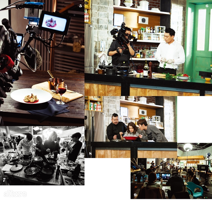 6첫 번째로 촬영을 시작한이현오 셰프.7사진 촬영을 위해 완성된 요리는 한번 더 조리대에 오른다.8김소봉 셰프의 요리를맛보고 있는 두 MC.9촬영을 위해 가양동 CJ E&M 스튜디오에 모인 수십 명의 스태프.