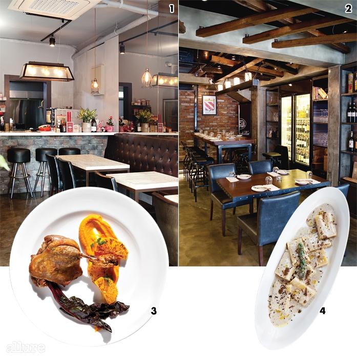1조명과 곳곳에 놓인장식품이 아늑한 실내2당근퓨레와 오렌지소스,적근대를 곁들인 오리 꽁피.3소르티노셰프의 요리와 어울리는 중후한 공간4특제 트러플 오일을사용한 판나 타르투파토.