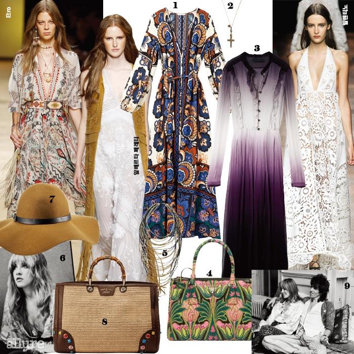 1폴리에스테르 소재 드레스는 9만9천원,H&M.2사파이어 장식의 스털링 실버소재 목걸이는 1백21만5천원, 구찌(Gucci).3실크 소재 드레스는 3백50만원, 버버리프로섬(Burberry Prorsum).4플라워프린트의 소가죽 소재 토트백은 가격미정,프라다(Prada).5비즈 장식 목걸이는2만9천원, H&M.61970년대 보헤미안들의우상이었던 플릿우드 맥의 싱어 스티비 닉스.7펠트 소재 모자는 3만5천원, H&M.8스톤장식의 라피아 소재 토트백은 가격미정, 구찌.9자유로운 옷차림과 애티튜드로 진정한보헤미안 라이프스타일을 추구한 모델 아니타팔렌버그와 롤링스톤즈의 키스 리처드스.