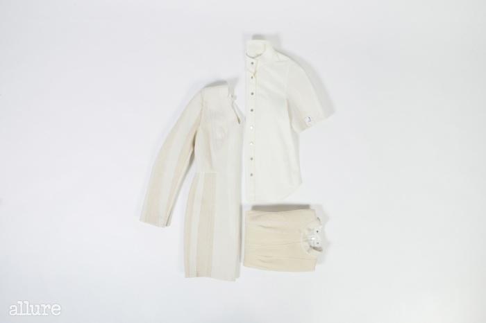 오래된 넥타이심지를 활용해 만든드레스와 셔츠.