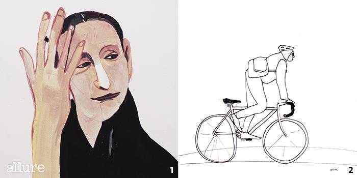 1 피나 바우쉬의 모습이 예뻐서 그려보았다. 2자전거를 타고 지나가는 한 남자를 그렸다.
