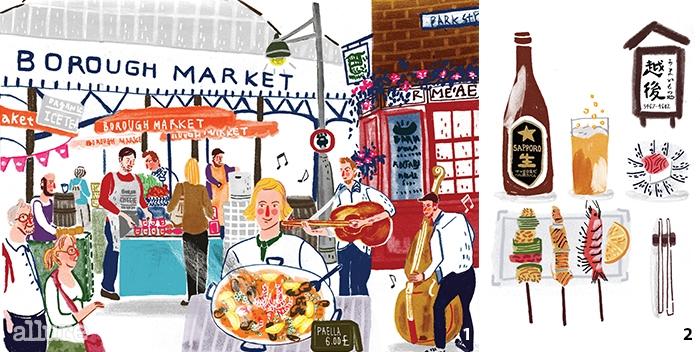 1 제이미 올리버가사랑한 식재료의 천국버로우 마켓을 그렸다. 2 도쿄-에치고. 내겐 시모키타자와의심야식당으로 기억되는 이자카야 이치고.