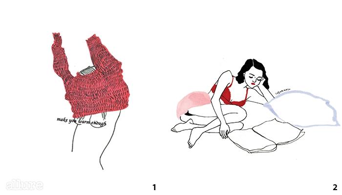 1 니트의 질감을 잘 살려보고 싶었던 그림. 2귀엽고 섹시한 매력의 소녀.
