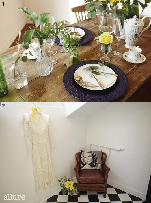 1 브라이덜 샤워를 진행하는 공간. 2유럽에서 공수해온빈티지 드레스.