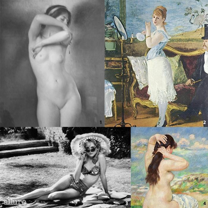 1 윌리엄 맥그레고리 팍스톤,'Glow of Gold, Gleam of Pearl'. 2에두아르 마네,'Nana'. 3영화 '롤리타'(1962). 4피에르 오귀스트 르누아르,'Bather Arranging Her Hair'.