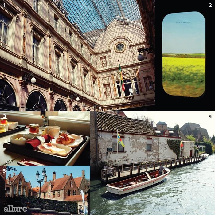 1 브뤼셀의 우산으로 불리는아름다운 아케이드. 2 탈리스기차 창 밖으로 펼쳐진 봄.3 탈리스 1등석에서 먹은아침 식사. 4, 5 운하의 마을브뤼헤. 고풍스러운 아르누보건물과 운하가 어우러져 있다.