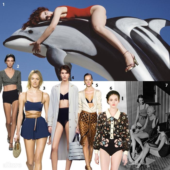 1 기 부르댕이 촬영한 찰스 주르당의 1976년 봄/여름 광고 사진. 2 보테가 베네타. 3마이클 코어스. 4발렌시아가. 5 알투자라. 6샤넬.7저지 수영복을 입은 1930년대 여배우들.