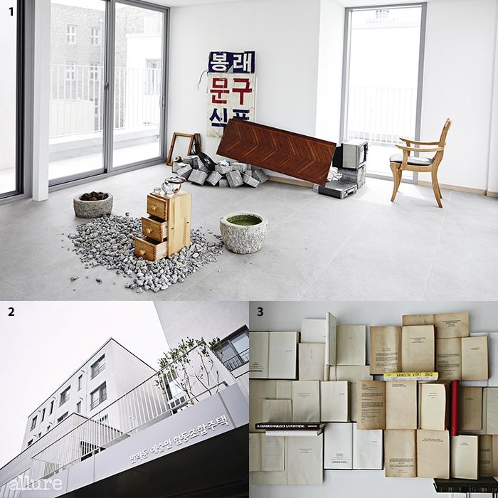 1만리동에서 발견한 물건들로 꾸며진 5층 전시실. 25월 입주를 마친 공공주택. 31층 공용공간에 걸린 작품.