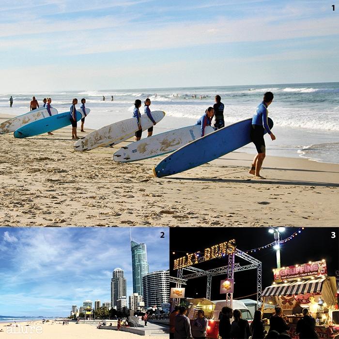 1 서퍼들의 천국이자 본고장인 서퍼스 파라다이스에서 서핑을 배우는 사람들. 2 끝이 보이지 않는 백사장과높이 솟은 마천루가 시원한 서퍼스 파라다이스 해변. 3 음악과 낭만, 전 세계의 다양한 먹거리가 어우러진잇 스트리트 마켓 야시장.