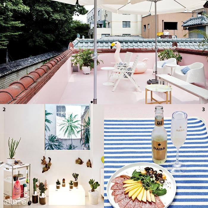 1인스타그램 인증샷을 부르는 분홍플라밍고 튜브가 있는 옥상 2휴양지 기분이 물씬풍기는 경쾌한 실내 3스파클링 와인다다, 살라미와복숭아