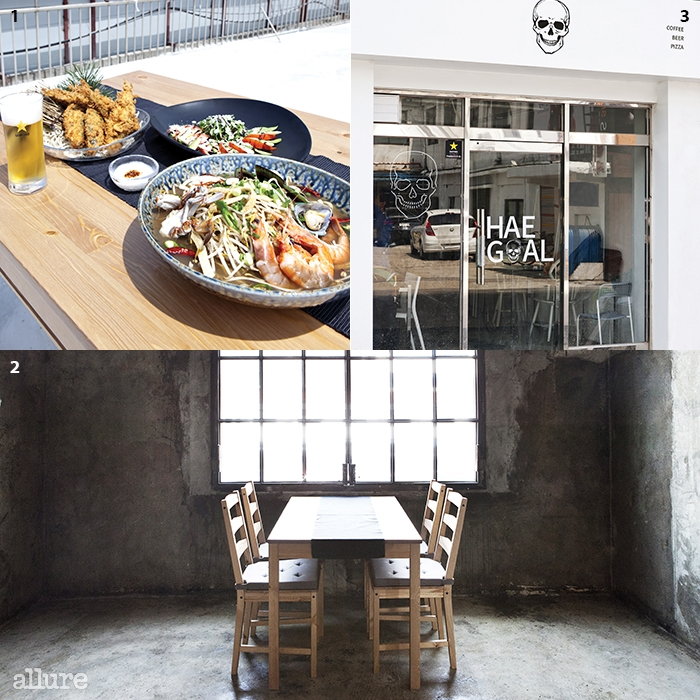 1쫄복 튀김과 크림치즈카프레제, 나가사키 해물짬뽕 230년 넘은 주택을개조한 320의 실내 31층은 캐주얼한 펍,해골로 운영한다.
