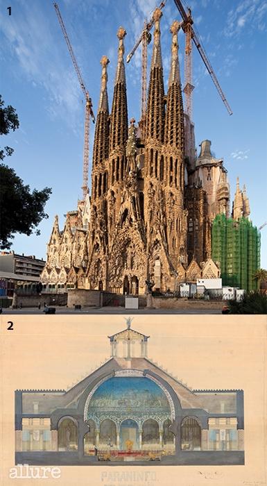 1 사그라다 파밀리아 성당 ©Yoon Joon Hwan2대학교 강당: 단면도 ©Catedra Gaudi