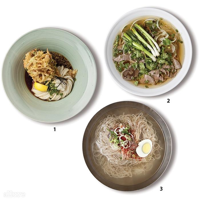 1 우동카덴의 카키아게붓카게 우동 2레호이의 쌀국수 3필동면옥의 물냉면