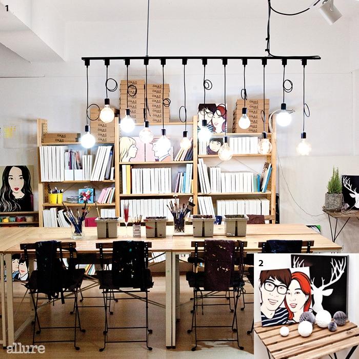 1 카페처럼 편안한 분위기의 작업실.2 팝아트 초상화를 액자로 활용하면 공간에포인트를 줄 수 있다,