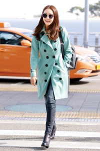 Choi Ji Woo wearing a Burberry cashmere trench coat in the S
