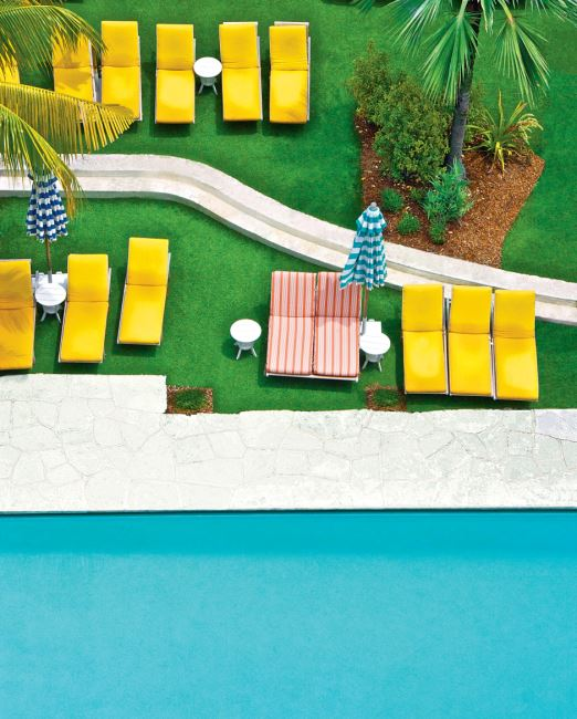 Relates to feature, Things that Make you go Boom, aerial view of swimming pool, yellow deck chairs, lawn, palm tree