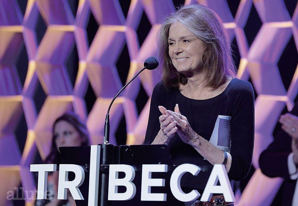 NEW YORK, NY - APRIL 23:  Gloria Steinem speaks at the Tribeca Film Festival Awards Night at Spring Studios on April 23, 2015 in New York City.  (Photo by John Lamparski/WireImage)